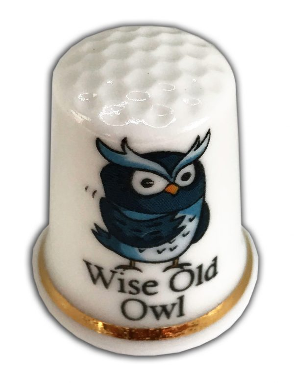 wise old bird personalised china thimble