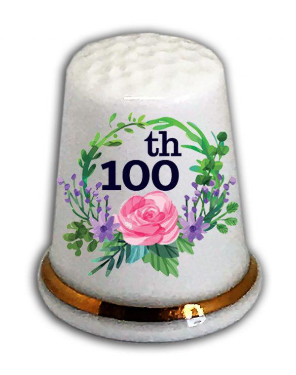 Happy 100th Birthday thimble from the thimble guild
