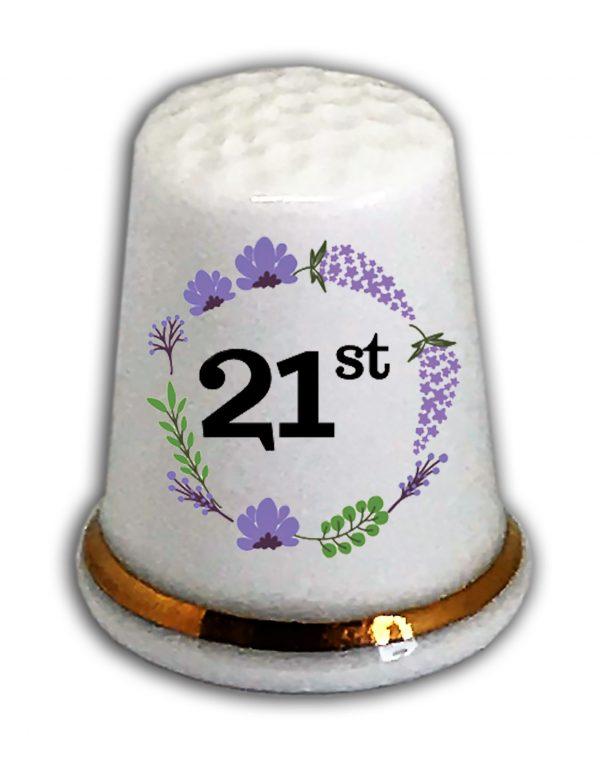 Happy 21st Birthday thimble from the thimble guild