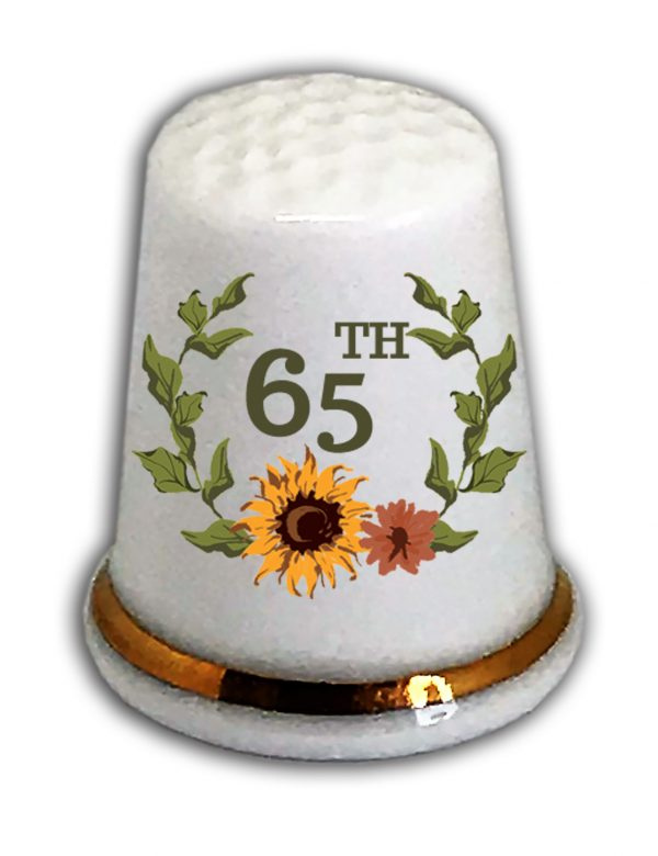 65th birthday thimble, personalised china 65th birthday thimble from the thimble guild