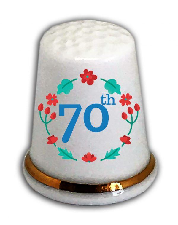Happy 70th Birthday thimble from the thimble guild