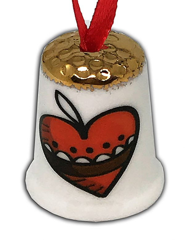 personalised Christmas heart hanging thimble from the thimble guild