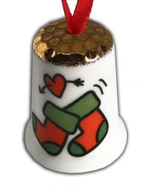 Personalised Christmas Hanging Ornament Thimble, Christmas Thimble from the thimble guild