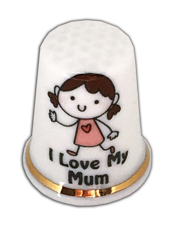 I love my mum personalised china thimble