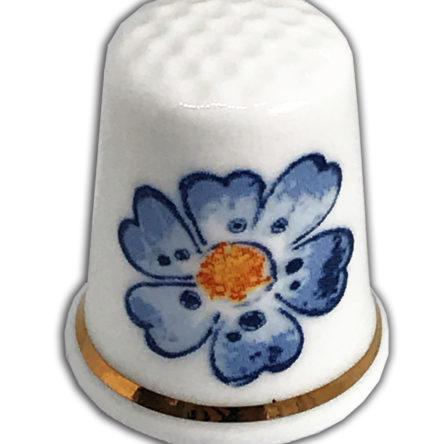 Modern Blue Flower Personalised Thimble