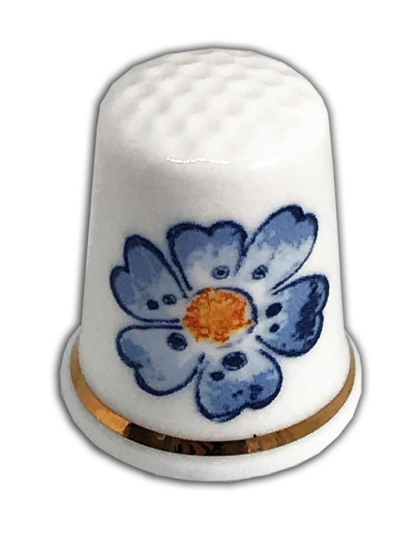 personalised blue flower china thimble