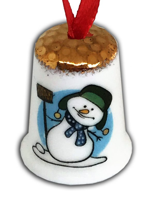 Personalised Fine Bone China snowman Hanging Thimble, Christmas Gift