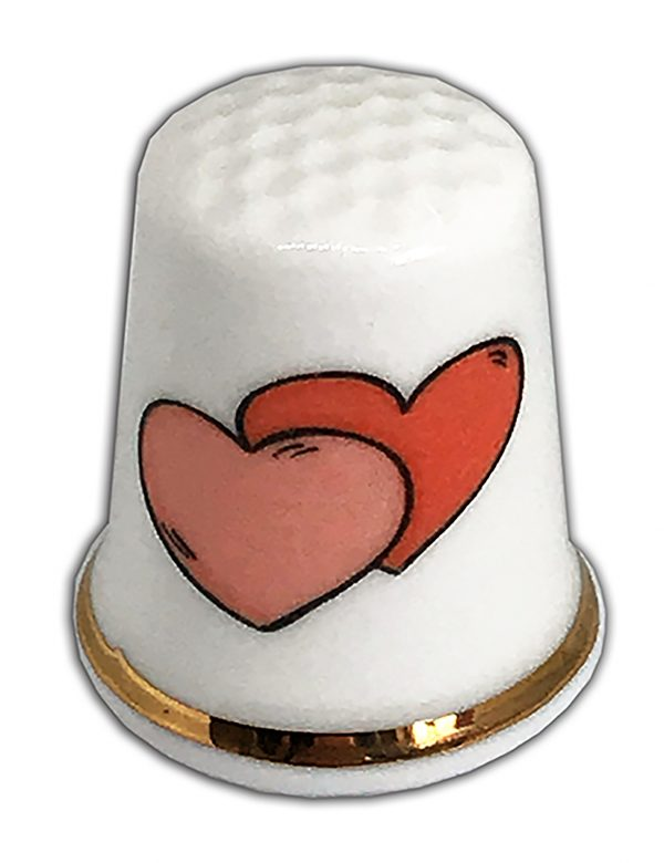 double heart china thimble, ideal wedding gift