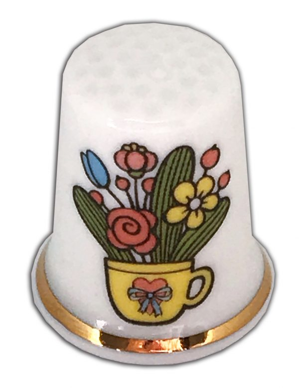Teacup of Flowers personalised china thimble