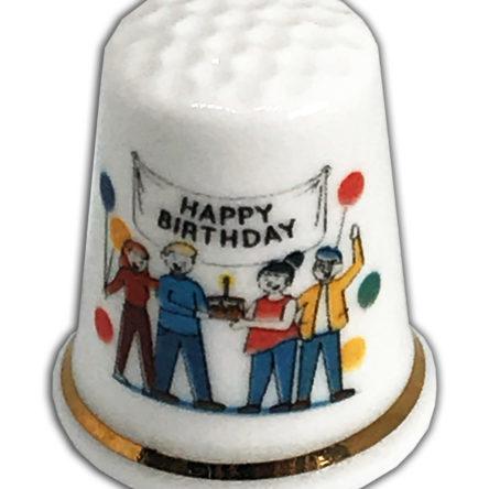 Happy Birthday Party Personalised China Thimble