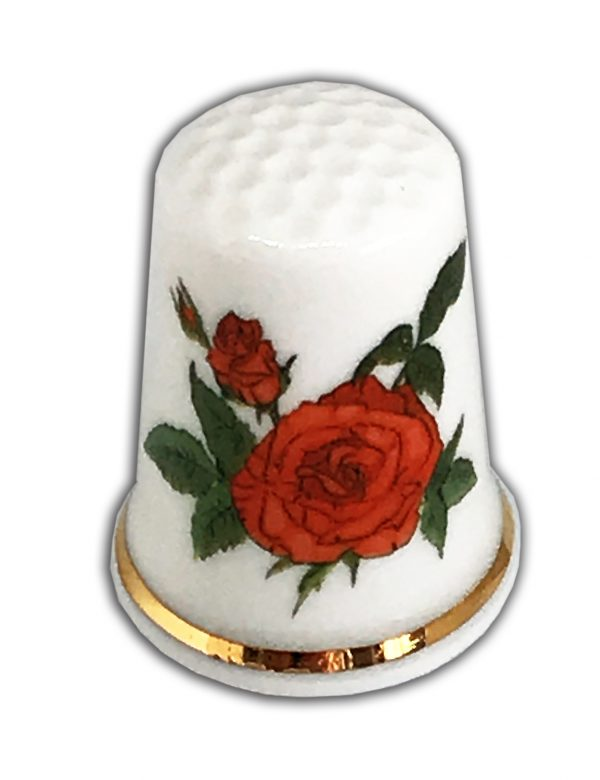 red rose personalised china thimble uk made