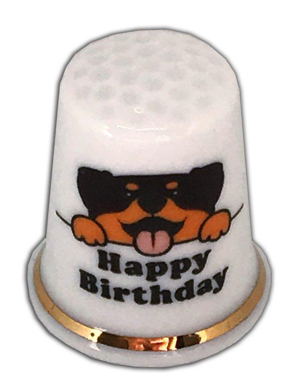 Happy Birthday Rottweiler china thimble