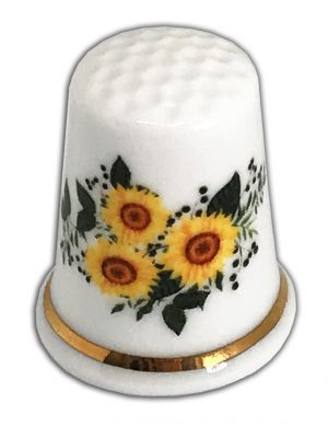 personalised sunflowers fine bone china uk made thimble