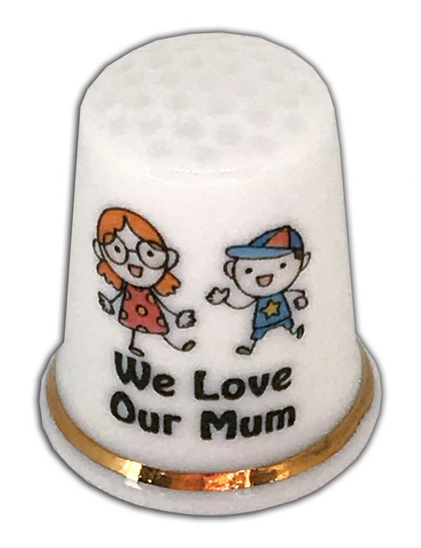 we love our mum personalised china thimble