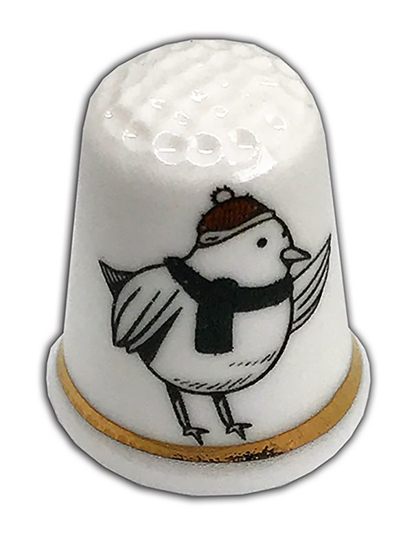 Christmas bird personalised china thimble from the thimble guild