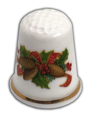 Traditional Christmas floral spray personalised china thimble from the thimble guild