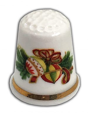 Traditional Christmas floral spray personalised china thimble