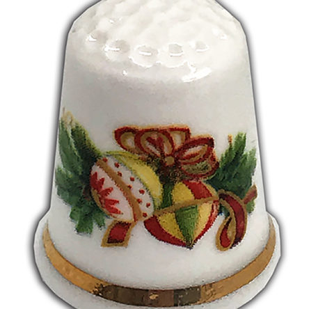 Traditional Christmas Bauble Wreath Personalised China Thimble,