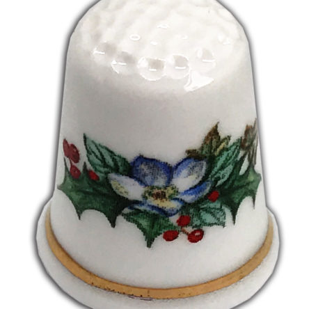 Traditional Holly Wreath Personalised China Thimble, Christmas Gift