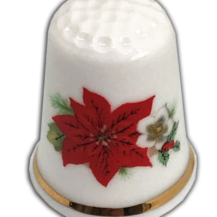 Traditional Christmas Poinsettia Personalised China Thimble,
