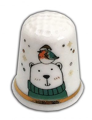 winter bear personalised china thimble