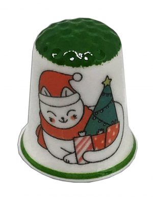 Personalised Christmas cat thimble from the thimble guild