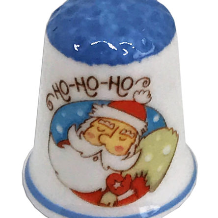 Blue Capped Ho Ho Ho Santa  Personalised China Thimble