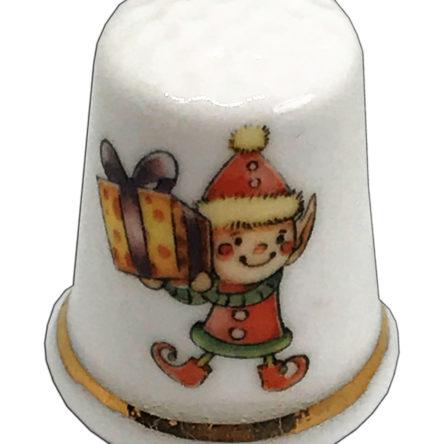 Cheeky Christmas Elf Personalised China Thimble