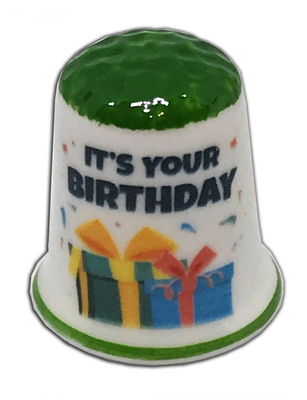 It's your birthday personalised china thimble