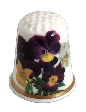 personalised china pansy thimble from the thimble guild