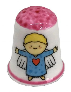 Pink Topped Christmas Angel Thimble from the Thimble guild