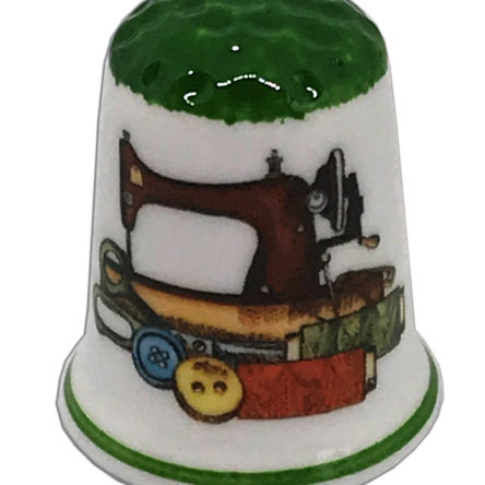 Green Capped Sewing Design One Personalised China Thimble