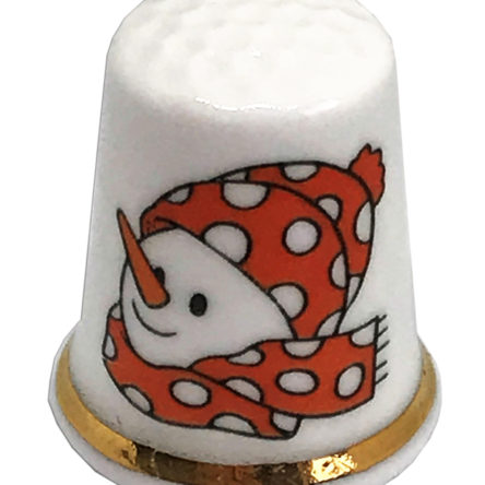 Dotty Snowman Personalised China Thimble