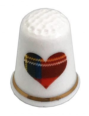 stewart tartan heart china thimble from the thimble guild