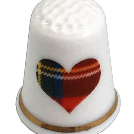 Stewart Tartan Heart Personalised Thimble
