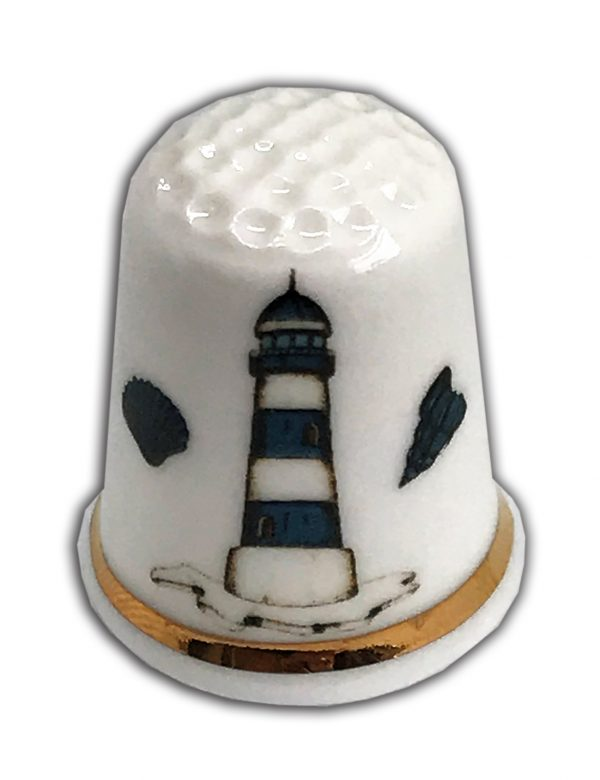 Lighthouse personalised china thimble from the thimble guild