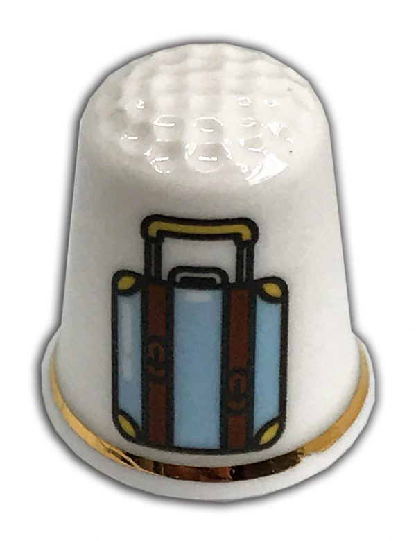 travel themed personalised china thimble from the thimble guild