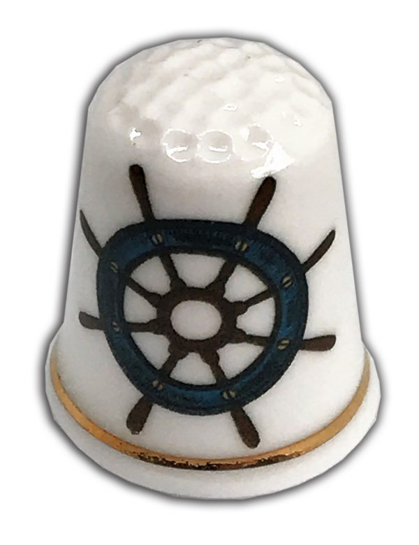 sailing themed personalised china thimble from the thimble guild
