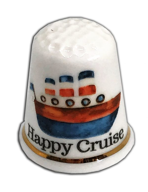 happy cruise personalised china thimble from the thimble guild