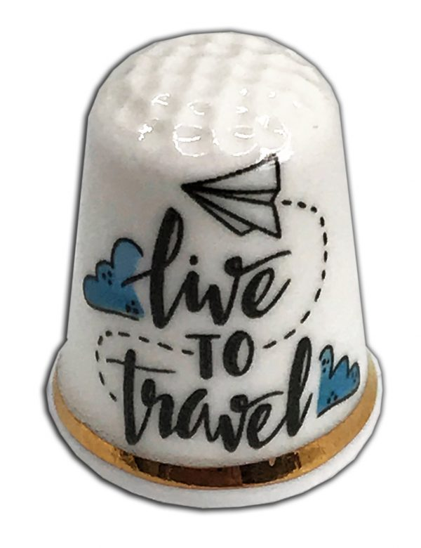 live to travel personalised china thimble