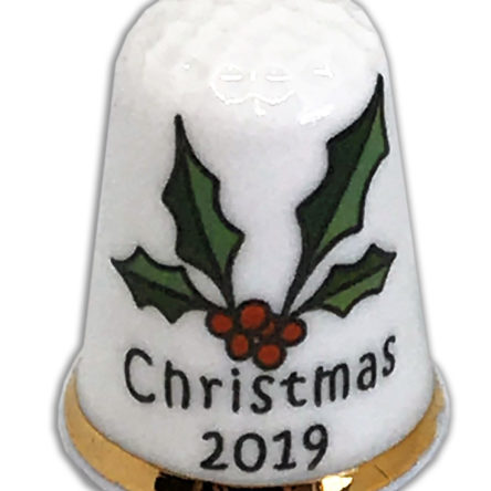 Christmas 2019 Holly Personalised China Thimble