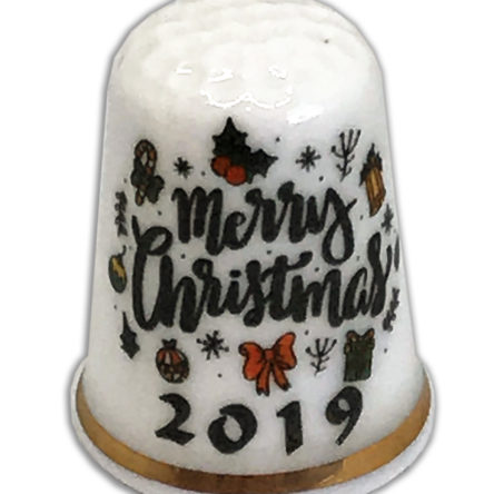Merry Christmas 2019 Personalised China Thimble